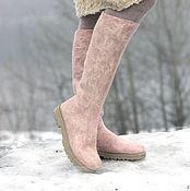 """Обувь ручной работы. Ярмарка Мастеров - ручная работа Сапожки валяные """"Розовый мрамор"""". Handmade."""