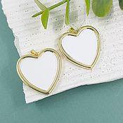 Материалы для творчества handmade. Livemaster - original item Heart Pendant 25 mm gilt, enamel (5646-Z). Handmade.