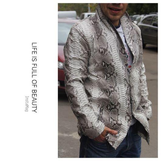 Верхняя одежда ручной работы. Ярмарка Мастеров - ручная работа. Купить Мужская куртка из натуральной кожи питона. Handmade.