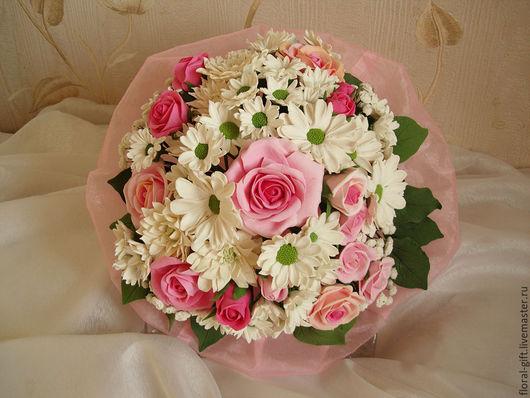 Свадебные цветы ручной работы. Ярмарка Мастеров - ручная работа. Купить Букет из полимерной глины. Handmade. Букет невесты, хризантема