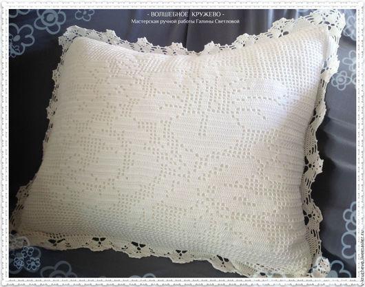 Текстиль, ковры ручной работы. Ярмарка Мастеров - ручная работа. Купить Вязаная крючком диванная подушка Букет цветов из хлопка. Handmade.