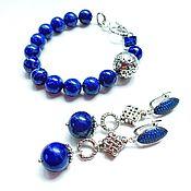 Украшения handmade. Livemaster - original item Bracelet and earrings with lapis lazuli and lava. Handmade.