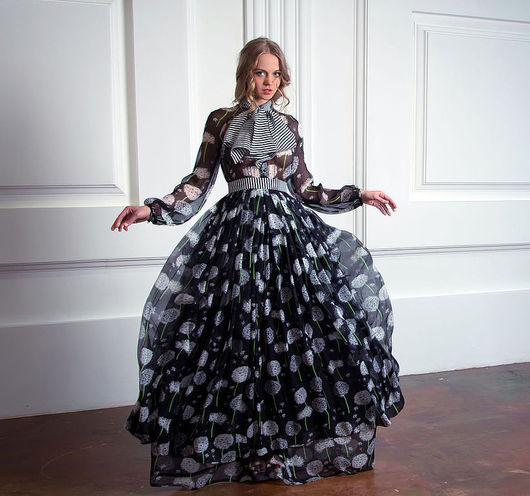 Платья ручной работы. Ярмарка Мастеров - ручная работа. Купить Шёлковое платье «Парадокс транзитивности». Handmade. Цветочный, длинное платье