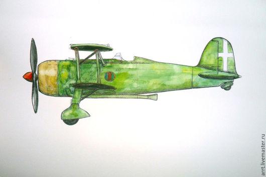 Детская ручной работы. Ярмарка Мастеров - ручная работа. Купить Первым делом самолеты Акварель. Handmade. Разноцветный, авиа