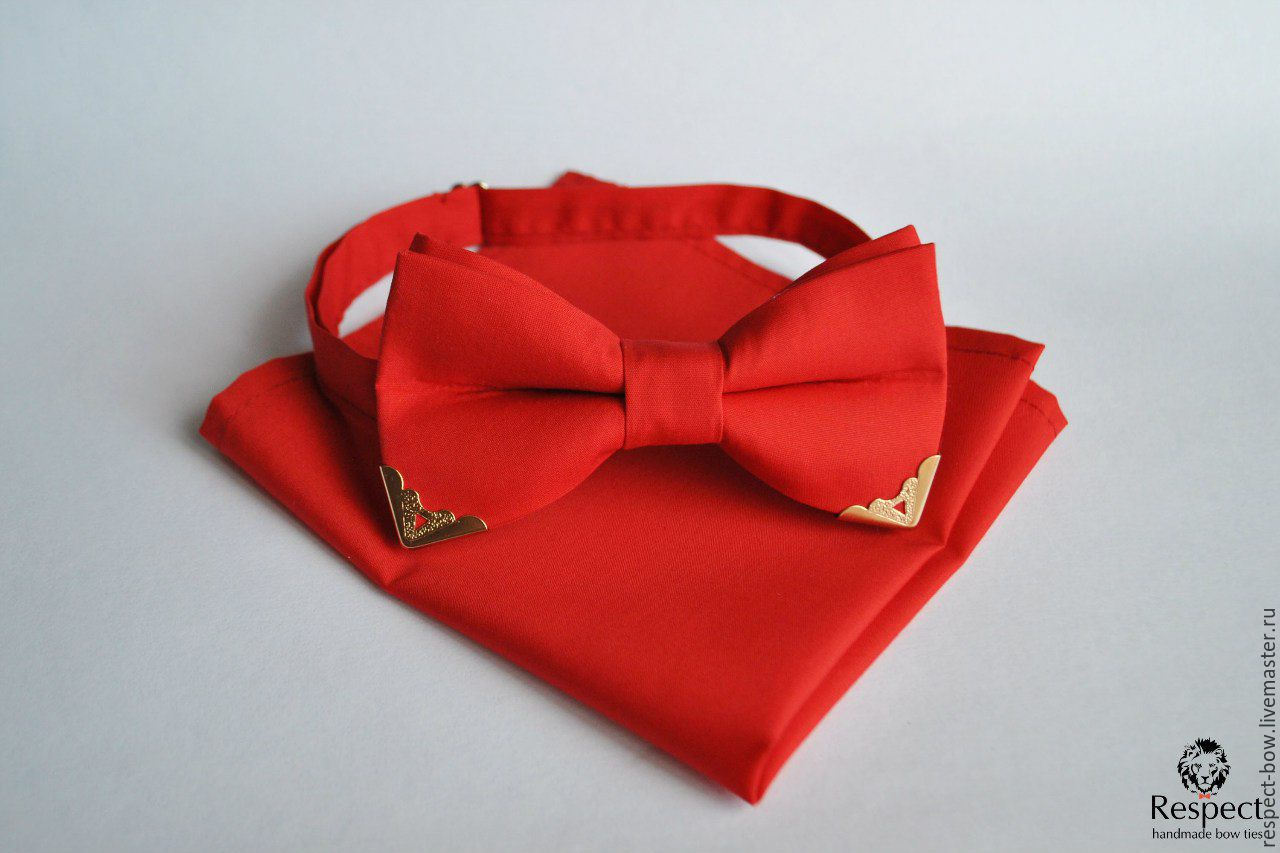 Red tie with corners of gold Handkerchief Pasha red, Ties, Moscow,  Фото №1