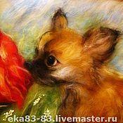 Картины и панно ручной работы. Ярмарка Мастеров - ручная работа Собачка и роза. Handmade.
