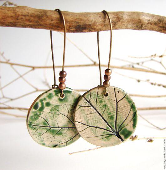 """Серьги ручной работы. Ярмарка Мастеров - ручная работа. Купить Серьги """"Однажды летом"""". Handmade. Зеленый, модные сережки, металл"""
