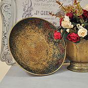 Винтаж ручной работы. Ярмарка Мастеров - ручная работа Старинная ваза - чаша с павлином  Индия латунь  с чеканкой. Handmade.