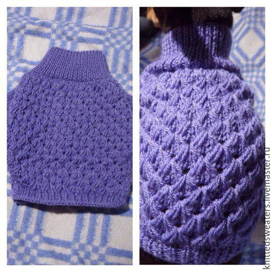 тёплый свитер,украшенный узором с вытянутыми петлями.