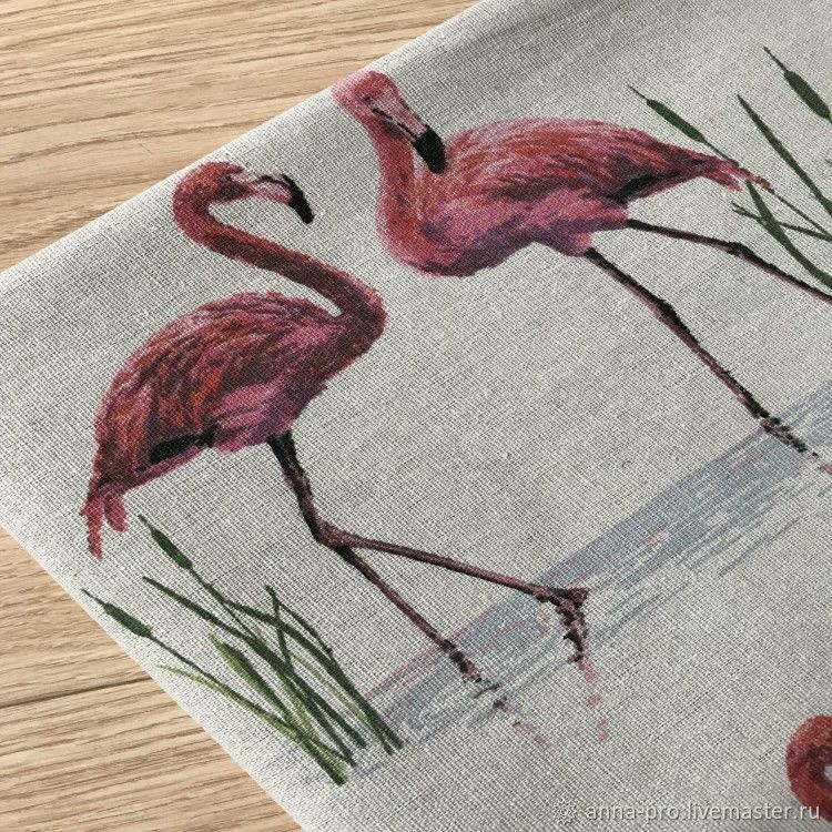Ткань Фламинго лен полулен и Рыбки 2 вида, Ткани, Москва, Фото №1