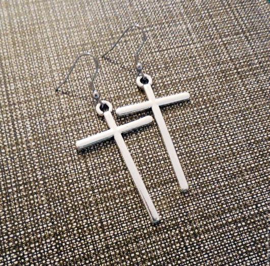 Серьги ручной работы. Ярмарка Мастеров - ручная работа. Купить Серьги Кресты, швенза (крючок) из хирургической стали. Handmade.