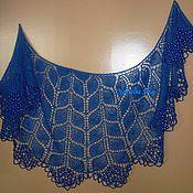 """Аксессуары ручной работы. Ярмарка Мастеров - ручная работа """"Синие листья"""" - ажурная шаль с крупными бусинами. Handmade."""
