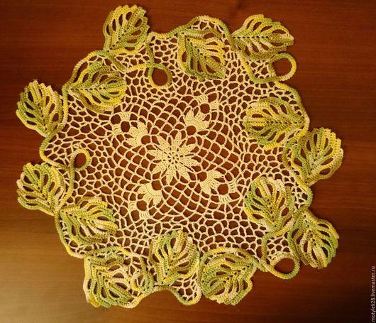 """Текстиль, ковры ручной работы. Ярмарка Мастеров - ручная работа. Купить Салфетка """"Листья кружат"""". Handmade. Салатовый, салфетка крючком"""