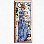 Картины и панно ручной работы. Ярмарка Мастеров - ручная работа Девочка с песиком, вышитая картина для спальни, девушка голубой, весна. Handmade.