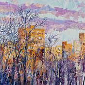 Картины и панно ручной работы. Ярмарка Мастеров - ручная работа Картина маслом пейзаж зима «Рыжее утро». Handmade.
