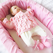 Работы для детей, handmade. Livemaster - original item jacket for girls, children cardigan, pink (0-3 months). Handmade.
