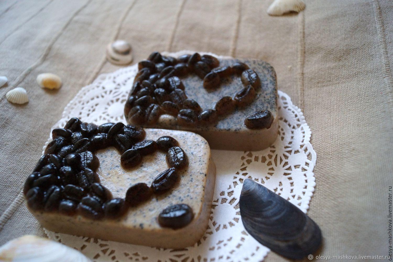 """Мыло """"Кофейное сердце"""" с натуральным кофе, белой глиной, Скрабы, Москва, Фото №1"""