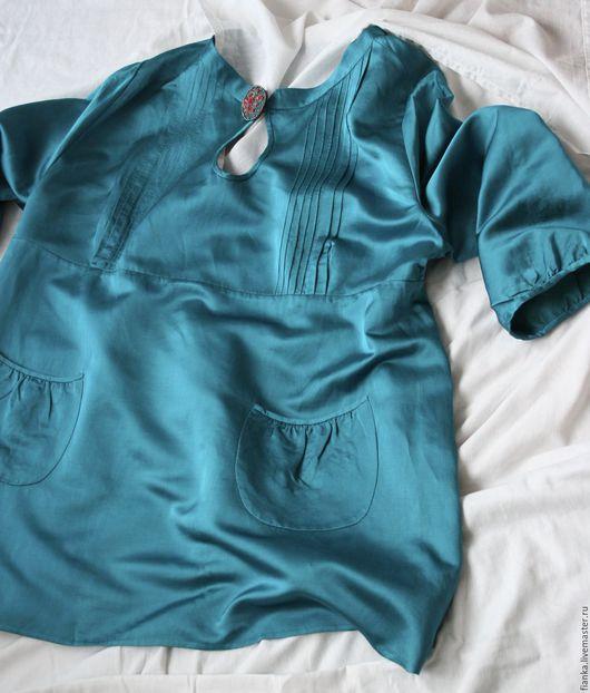Большие размеры ручной работы. Ярмарка Мастеров - ручная работа. Купить Блуза с брошкой. Handmade. Тёмно-бирюзовый, атлас