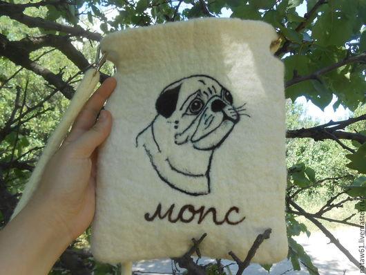 Сумки и аксессуары ручной работы. Ярмарка Мастеров - ручная работа. Купить Сумка из шерсти Собачка-Мопс(сумка валяная,сумка длинная, сумка собака. Handmade.