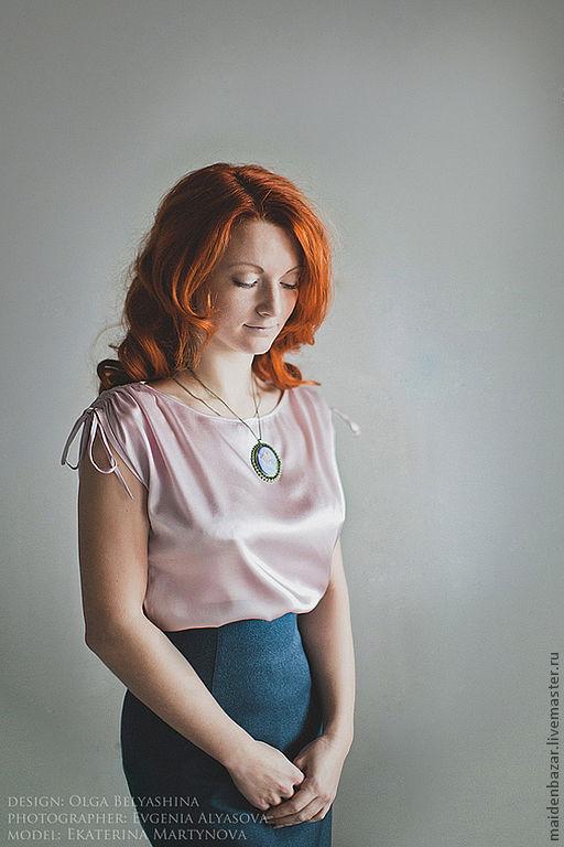 Блузки ручной работы. Ярмарка Мастеров - ручная работа. Купить Блузка из натурального шелка. Handmade. Бледно-розовый, винтажная одежда