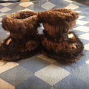 Работы для детей, ручной работы. Ярмарка Мастеров - ручная работа Носочки -тапочки с мехом Норки. Handmade.