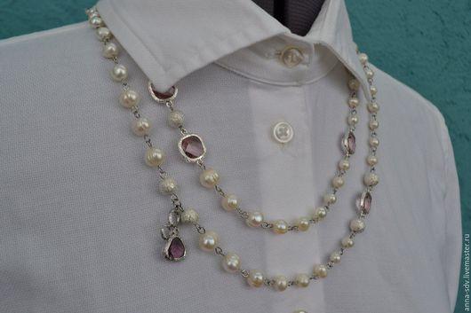 Нежное ожерелье `Ассоль` выполнено из  натурального жемчуга. Коннекторы - фианит, ювелирный сплав. Бусина `сахарная` - металл.