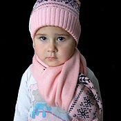 Аксессуары handmade. Livemaster - original item Set hat scarf for girls knitted pink. Handmade.