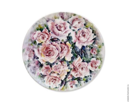 Керамическая тарелка `Розовые розы`. Керамика ручной работы. Ярмарка мастеров.