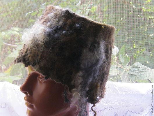 Шапки ручной работы. Ярмарка Мастеров - ручная работа. Купить шапка дикарка. Handmade. Коричневый, натуральная шерсть, Итальянский меринос