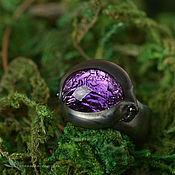 Украшения ручной работы. Ярмарка Мастеров - ручная работа Кольцо Светлячок фиолетовый 15 размер лэмпворк стеклянное черный. Handmade.