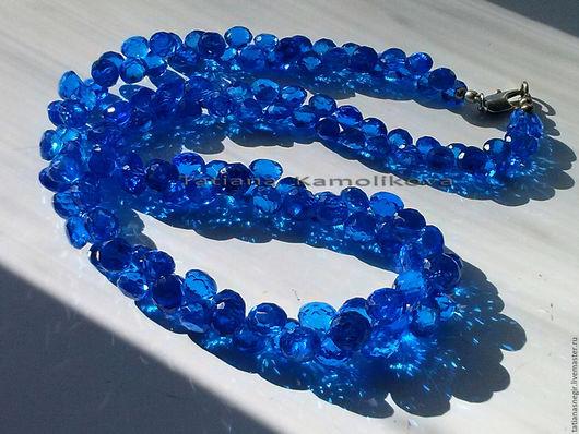 Колье, бусы ручной работы. Ярмарка Мастеров - ручная работа. Купить Колье из синей натуральной шпинели. Handmade. Синий