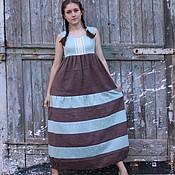 Одежда ручной работы. Ярмарка Мастеров - ручная работа Льняное платье в полоску Арт.08, мятно-коричневое. Handmade.