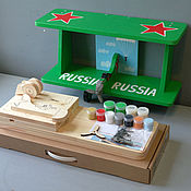 """Для дома и интерьера ручной работы. Ярмарка Мастеров - ручная работа Полка для книг """"Самолёт"""" (набор с красками и контурами) 60см зеленый. Handmade."""
