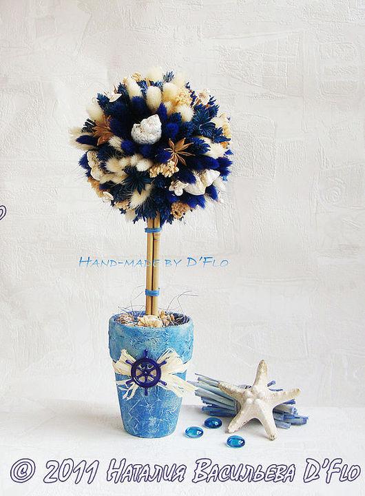 """Топиарий """"Морской"""" - интерьерное дерево счастья из ракушек и сухоцветов. Авторская работа Наталии Васильевой D""""Flo."""