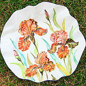 """Посуда ручной работы. Ярмарка Мастеров - ручная работа Тарелка фарфоровая мятая """"Ирисы"""". Handmade."""