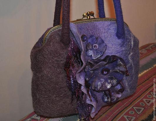 Женские сумки ручной работы. Ярмарка Мастеров - ручная работа. Купить Войлочная фиолетовая сумка Ночная фиалка. Handmade. Фиолетовый