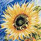 Картины цветов ручной работы. Ярмарка Мастеров - ручная работа. Купить Подсолнух. Handmade. Желтый, подсолнух, вышивка, ручная работа