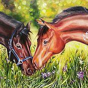 Картины и панно handmade. Livemaster - original item Oil painting with horses My love. Handmade.