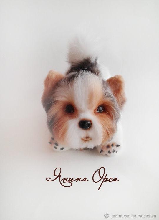 Авторская игрушка щенок биверйорка Тоби. Автор - Янина Орса. Ярмарка мастеров.