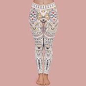 Леггинсы ручной работы. Ярмарка Мастеров - ручная работа Йога легинсы белые с принтом «Kashmiri Princess». Handmade.