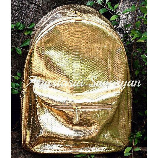 Рюкзаки ручной работы. Ярмарка Мастеров - ручная работа. Купить рюкзак женский из натуральной кожи питона. Handmade. Золотой цвет