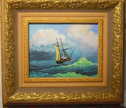 Пейзаж ручной работы. Ярмарка Мастеров - ручная работа. Купить картина. Handmade. Комбинированный, море, шторм, корабль, живопись маслом