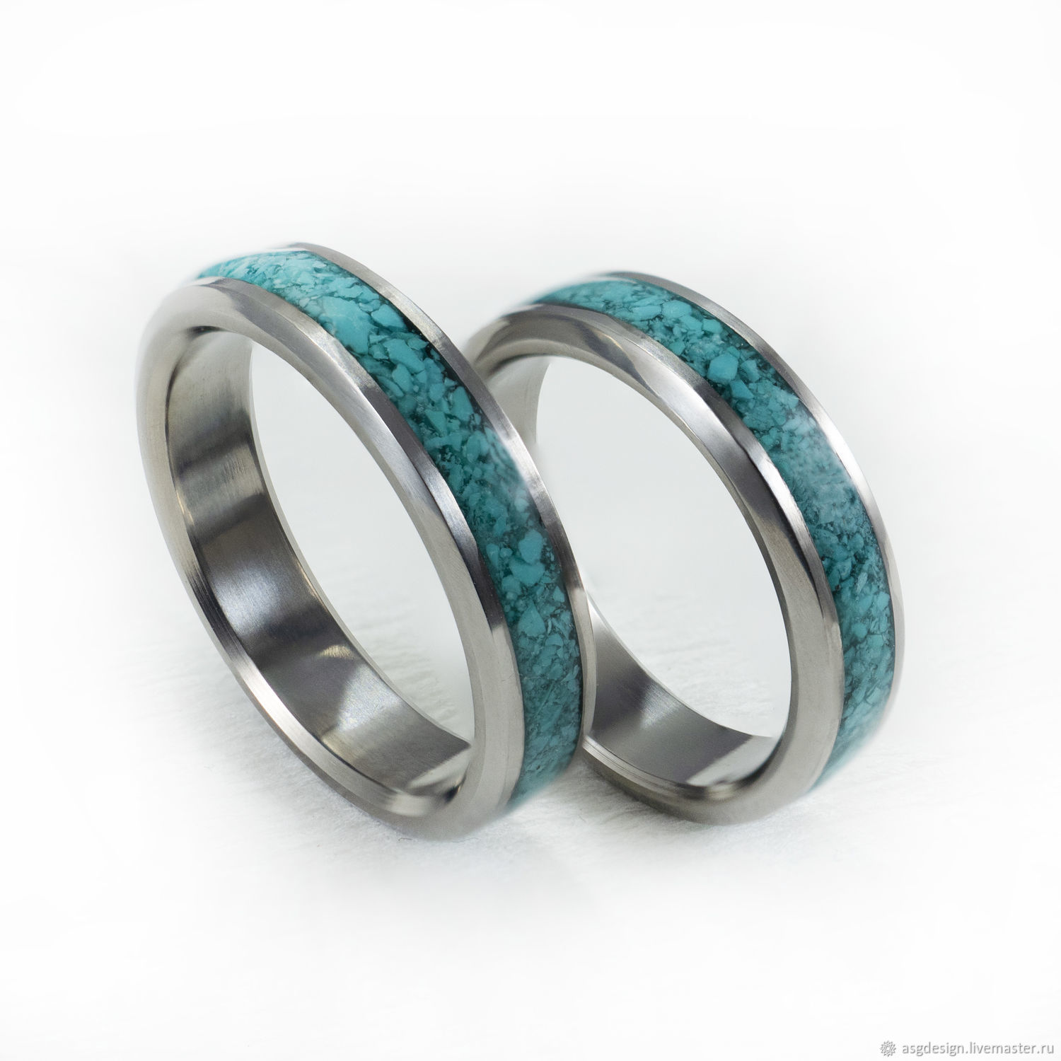Titanium rings with turquoise, Rings, Moscow,  Фото №1