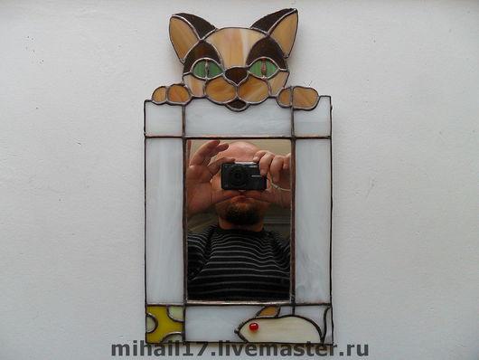 """Зеркала ручной работы. Ярмарка Мастеров - ручная работа. Купить зеркало """"Кошки-мышки"""". Handmade. Зеркало, Витраж Тиффани, мышка"""