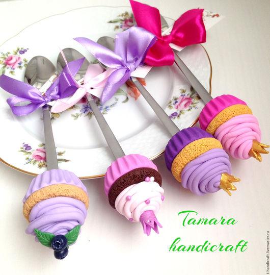 Приколы ручной работы. Ярмарка Мастеров - ручная работа. Купить Вкусные ложки со сладостями из полимерной глины FIMO. Handmade.
