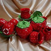 """Посуда ручной работы. Ярмарка Мастеров - ручная работа Чайный сервиз """"Клубничка"""". Handmade."""
