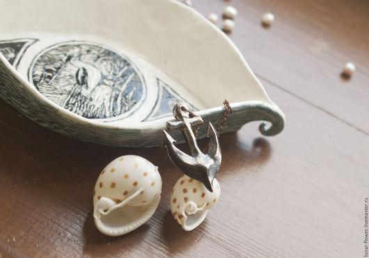 Декоративная посуда ручной работы. Ярмарка Мастеров - ручная работа. Купить Керамическая миска Капитан-Чайка. Handmade. Белый, якорь