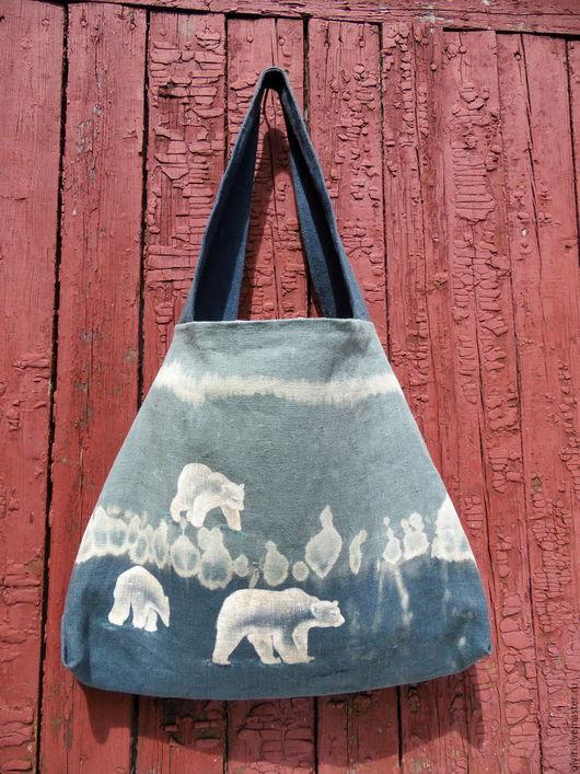 сумка льняная, Север, мишки на севере, антарктида, антарктика, сумка женская