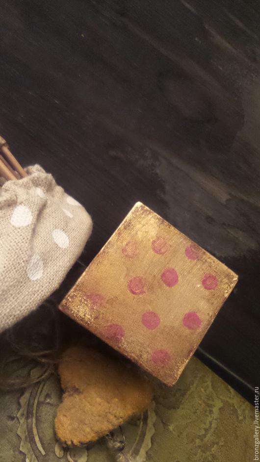 Детская ручной работы. Ярмарка Мастеров - ручная работа. Купить Кубик деревянный Винтажный Интерьерный Ретро Дети Горох. Handmade.
