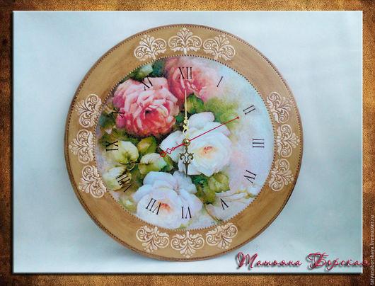 Часы для дома ручной работы. Ярмарка Мастеров - ручная работа. Купить Часы настенные с розами.. Handmade. Бежевый, часы интерьерные